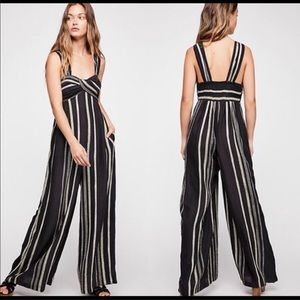 NWT Free People Breezin Through Striped Jumpsuit